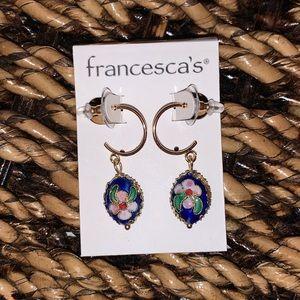 """Francesca's """"Anastasia"""" Navy Cloisonné Earrings"""